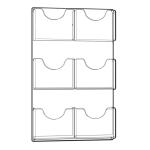 Azar Displays 6 Pocket Wall Mount