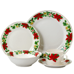 Gibson Home Poinsettia Holiday 20 Piece