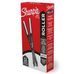 Sharpie® Rollerball Pens, Needle Point, 0.5 mm, Black Ink, Pack Of 12