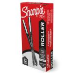 Sharpie® Roller Pens, Arrow Point, 0.7 mm, Black Barrel, Black Ink, Pack Of 12 Pens