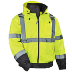 Ergodyne GloWear® 8379 Type R Class 3 High-Visibility Fleece-Lined Thermal Bomber Jacket, X-Large, Lime