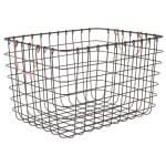 Realspace® Metal Wire Bin With Handles, Medium Size, Black/Copper