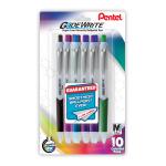 Pentel® GlideWrite Ballpoint Pens, Medium Point, 1.0 mm, White Barrel, Assorted Ink Colors, Pack Of 10 Pens
