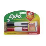 EXPO® Magnetic Dry-Erase Markers With Erasers, Chisel Tip, Black/Red Ink, White Barrel, Pack Of 2 Markers