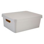 """Realspace™ Medium Storage Box With Lid, 10-15/16 x 14-1/2"""" x 5-7/16"""", Ivory"""