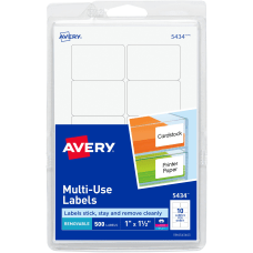Avery Removable InkjetLaser Multipurpose Labels 5434