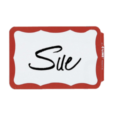 Maco Name Badges Red Border Pack