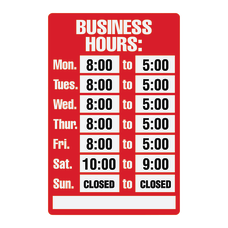 Cosco Business Hours Sign Kit 8