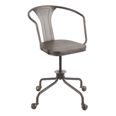 Lumisource Oregon Task Chair Antique MetalEspresso
