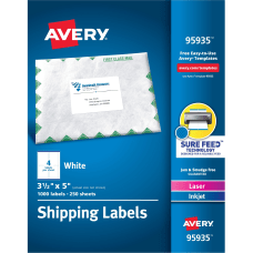 AveryR Shipping Labels Sure FeedTM Technology