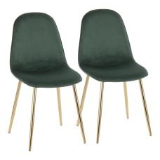 LumiSource Pebble Velvet Chairs GreenGold Set