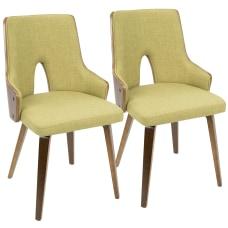 LumiSource Stella Chairs WalnutGreen Set Of