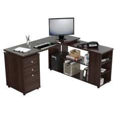 Inval L Shaped Computer Workstation Espresso