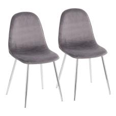 LumiSource Pebble Velvet Chairs GrayChrome Set