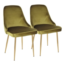 LumiSource Marcel Dining Chairs GoldGreen Set