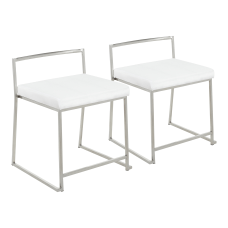 LumiSource Fuji Stackable Dining Chairs SilverWhite