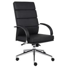 Boss Vinyl High Back Chair BlackChrome