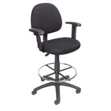 Boss Drafting Stool Adjustable Arms Black