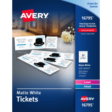 Avery Tear Away Stubs Matte Printable