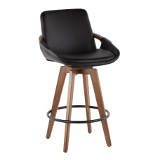 LumiSource Cosmo Counter Stools Black SeatWalnut