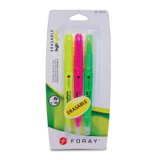 FORAY Erasable Highlighters With Chisel Tips