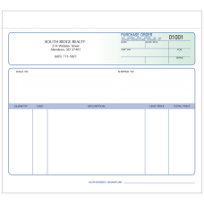 Purchase Order Forms Unruled 8 12