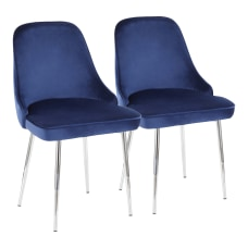 LumiSource Marcel Dining Chairs BlueChrome Set