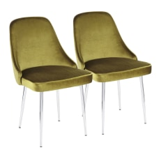 LumiSource Marcel Dining Chairs ChromeGreen Set