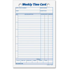 TOPS Weekly Time Cards Pack Of