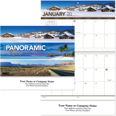 Panoramic Memo Stapled Wall Calendar