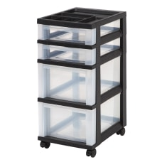 Iris Plastic 4 Drawer Rolling Storage