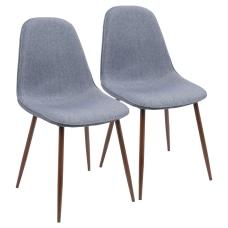 LumiSource Pebble Dining Chairs BlueWalnut Set