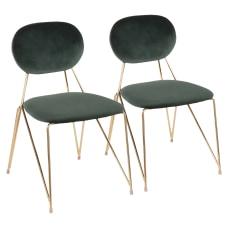LumiSource Gwen Chairs Green SeatGold Frame