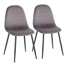 LumiSource Pebble Velvet Chairs GrayBlack Set