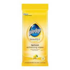 Pledge Furniture Polish Wipes Lemon Scent