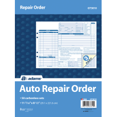 Adams Garage Repair Order Form Books