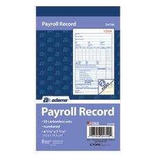 Adams 2 Part Carbonless Payroll Record