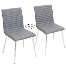 LumiSource Mason Swivel Chairs WalnutGrayStainless Steel