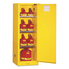 Yellow Slimline Safety Cabinets Self Closing