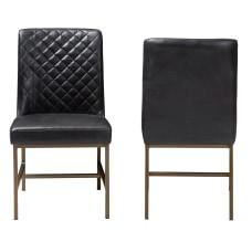 Baxton Studio Mael Chairs BlackBronze Set