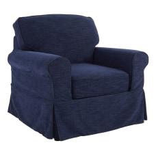 Ave Six Ashton Slipcover Chair NavyBrown