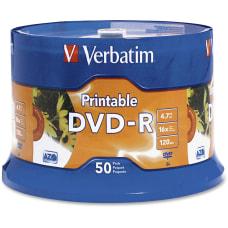 Verbatim K44547 White Inkjet Printable DVD