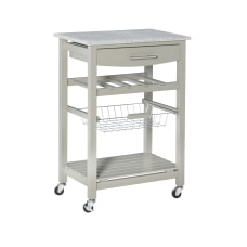Linon Rhett Granite Top Kitchen Cart