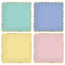 Amscan Spring Scalloped Square Plastic Plates