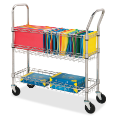 Lorell Mobile Wire Mail Cart Chrome