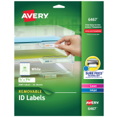 Avery Removable LaserInkjet ID Labels 6467