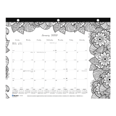 Blueline DoodlePlan Coloring Monthly Desk Pad
