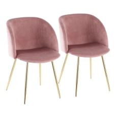 LumiSource Fran Dining Chairs PinkGold Set