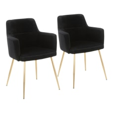 LumiSource Andrew Dining Chairs GoldBlack Set