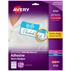 Avery Adhesive Name Badges Hello My